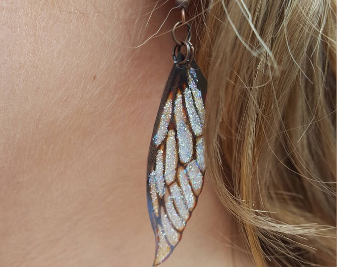 NEW fairy wing earrings. Vintage sepia lightweight faerie glitter wings.