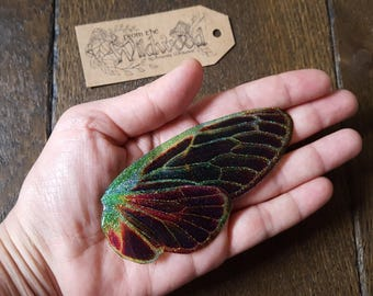 Magical Large Faerie Wing Brooch. Glittery large dark fairy wings.