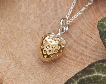Gold strawberry necklace. 18k gold on solid 3D 925 sterling silver charm. Nature inspired jewellery gift. Cottagecore dainty fruit necklace
