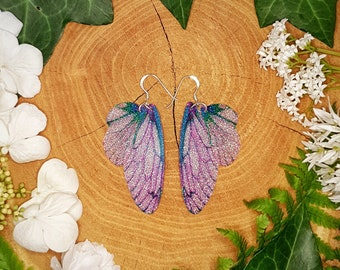 Pink and turquoise sparkle fairy wing earrings. Iridescent faerie wings on a choice of earwires. An unusual gift for a magical friend