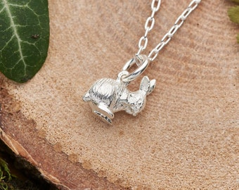 Tiny silver rabbit necklace. Solid 925 sterling silver shy bunny charm. Nature inspired jewellery gift for her. Dainty woodland necklace