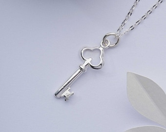 Tiny silver key necklace. Key to my heart pendant. 925 sterling silver charm. Magical secret garden jewellery gift for her. Dainty necklace
