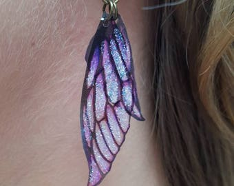 NEW fairy wing earrings. Purple lightweight faerie glitter wings.