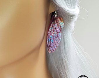 English rose Fairy Wing Earrings. Medium handmade Iridescent faerie wings. Unique fantasy gift for a magical best friend.