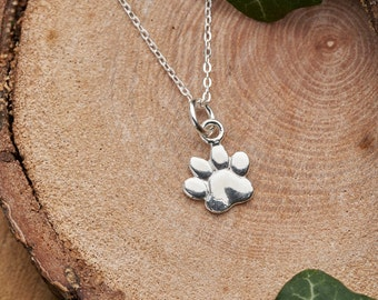 Silver paw print necklace. Solid 925 sterling silver 3D animal paw pendant charm. Dog paw necklace gift for pet owner. Small dainty necklace
