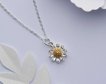 Sterling silver daisy flower necklace. Solid 925 sterling silver with 18k gold centre daisy pendant. April birth flower. April birthday gift