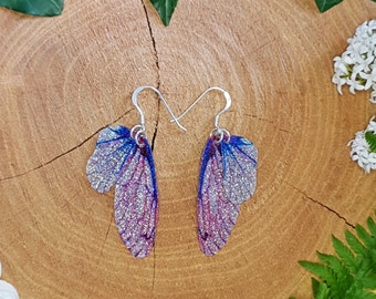 Small pink and blue fairy wing earrings. Handmade sparkle training wings. Magical faerie jewellery. Unusual gift for an enchanted girlfriend