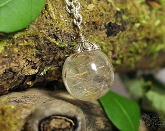 Dandelion Wish Ball Necklace. Botanical specimen necklace.