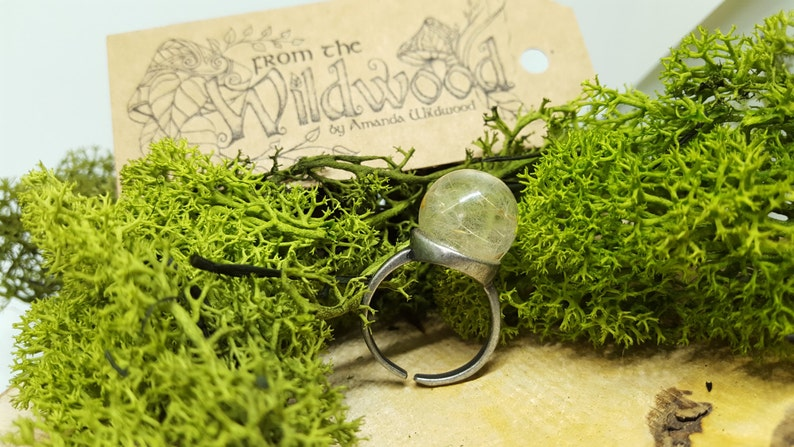 fae wishes Real dandelion seed mini terrarium jewellery. Adjustable resin and antique brass ring full of fairy Dandelion faerie wish ring