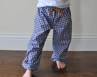 SALE! Ready to ship - Gingham trousers, Navy gingham, Harem Pants, Girl Trousers, Boys Trousers, Navy Baggies, Cotton Girls, Girls Clothes