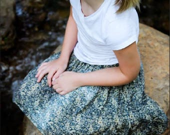 Girls Fashion Girls Skirt Floral Skirt Blue Floral Cotton Skirt Blue Skirt Natural Girls Girls Clothes Country Girl Twirl Skirt