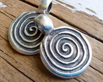 Antique Silver Spiral Pendant, Pack of 3, Greek Metal, Mykonos Beads