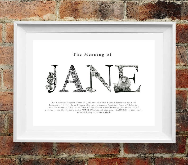 Personalised Meaning Of Name Illustrated Christian Name Art Print