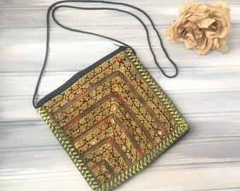 Green and Orange Boho Purse / Embroidered Bag / Boho Bag / Boho Purse / Vintage Boho / Cross Shoulder Purse / Boho Style Purse