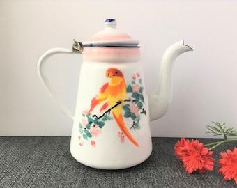 Enamel Kettle / Tall Enamel Kettle / Decorative Kettle / Vintage Enamel Kettle / Enamel Kitchen / Enamel Decor / Bird Kettle / Parrot Lover