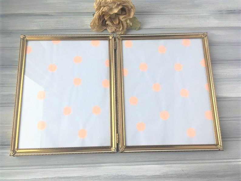 Double Picture Frame  Vintage Ornate Photo Frame  Old Picture Frame  8 x 10 Frame  8 x 10 Display  Gold Frame