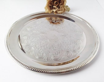 Vintage Round Silver Serving Tray / Silver Tray / Silver Serving Tray / Silver Drink Tray / Vintage Silver Tray / Vintage Tray / Round Tray