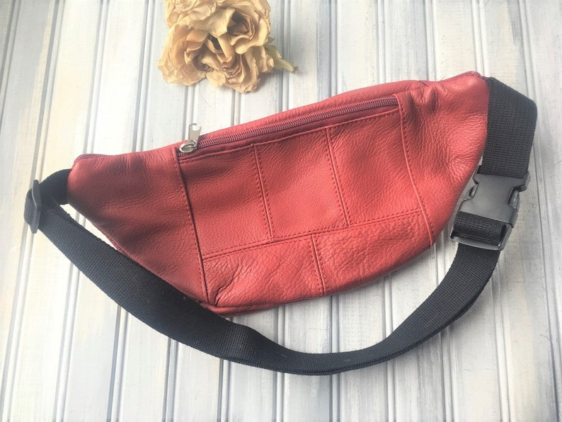 Red Leather Fanny Pack  Red Leather Waist Bag  Mens Fanny Pack  Mens Purse  Red Fanny Pack  Fabric Fanny Pack