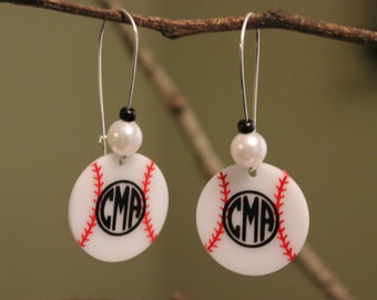 Personalized Baseball Earring, Monogrammed Baseball Earrings, Custom Baseball, Personalized Jewelry, Custom Baseball Earrings, Baseball Gift