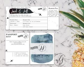 Black & White Blue Watercolor Boarding Pass Passport RSVP Destination Wedding Invitation Suite -- Digital File Only (Printable PDF and JPG)