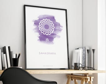 SAHASRARA - Crown Chakra Poster. Spiritual gifts, violet watercolor print, yoga studio decor, zen art, yoga printable, digital download