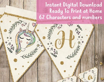 INSTANT DOWNLOAD • Personalised Bunting • Printable • Unicorn Birthday Party • Glitter • Hand drawn • Baby Shower • Wedding