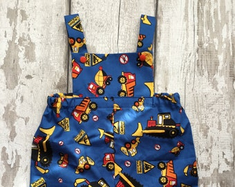 fd8c575588fd Digger Romper Baby Dungarees baby boy Construction Romper Vehicles Baby  shorts Romper Baby gift Handmade baby clothes Toddler romper Cars