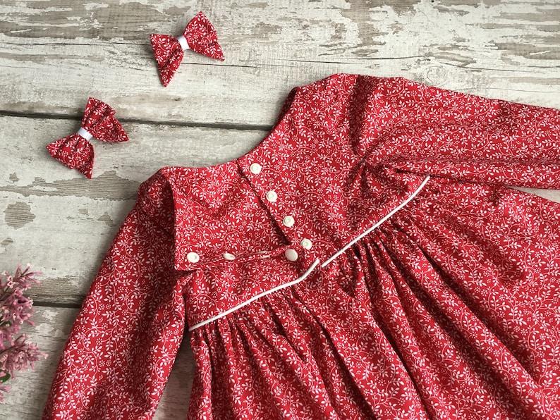 Red Blue dress Long sleeved Baby Girl floral dress hair bow Autumn Fall Winter Christmas dress Cotton dress set Handmade baby girl clothing