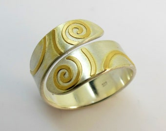 Ring of silver with gold, adjustable