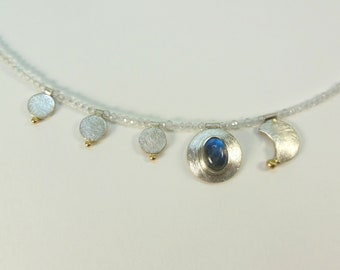Necklace with moonstone, asymetric