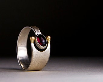 Ring with garnet , ring with red stone, elegant ring