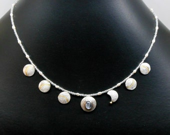 Necklace with moonstone, symbol moon phases