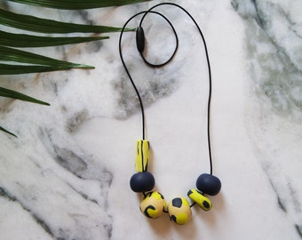 Handmade Geometric Polymer Clay Beaded Short Necklace Lime Green Neon Navy