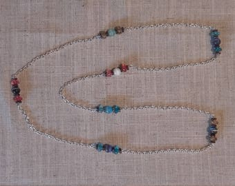 Long chain necklace with multi or green only beaded detail