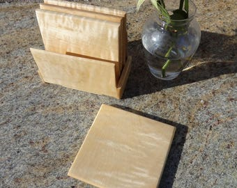 Coasters Curly Maple 341-1217  4 1/2 Square x 3/8