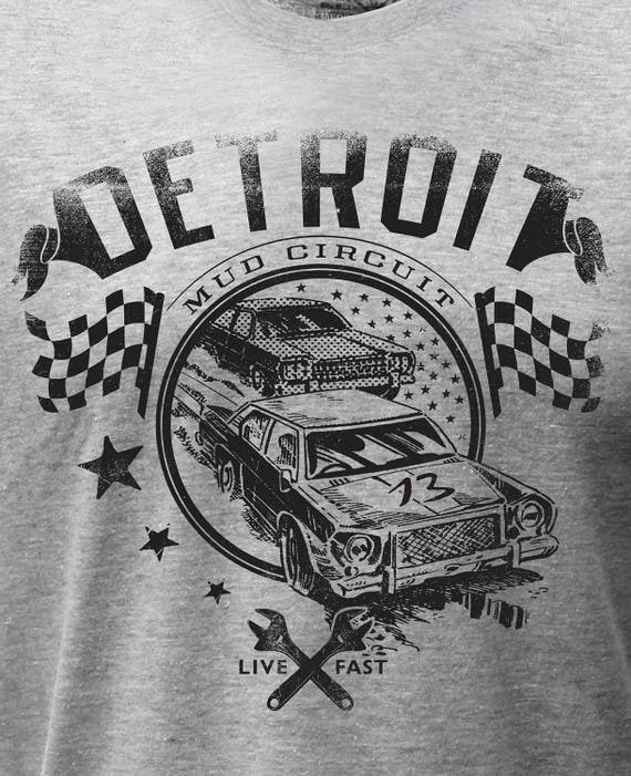 Vintage Classic Car T Shirt by Detroit Rebels | Black Motor City Shirt Mens Muscle