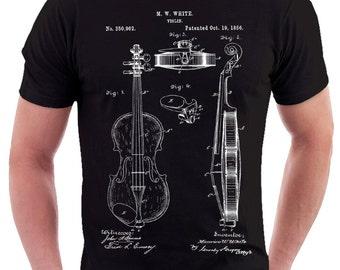 f1a56e996 Violin Patent Print T Shirt, Patent Prints, Patent Art, T Shirt Vintage,  Blueprint Art