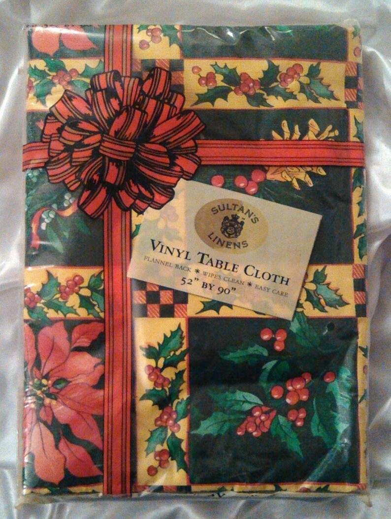 Jahrgang Sultan Bettwäsche Vinyl Tischdecke Flanell Rückseite Wischt Sauber Einfache Pflege Weihnachten Weihnachtssterne Holly 52 X 90