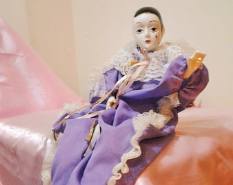 Musical Animated Large Pierrot Clown Vintage