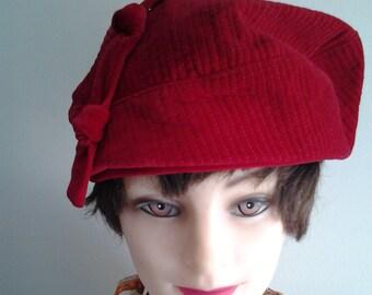 503072d2798 Vintage 80 s Ladies Dark Red Corduroy Hat  Beret