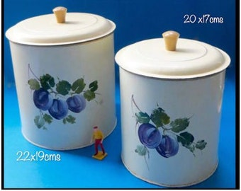 RESERVED - 1940's Cream Handpainted Large Tin Canisters
