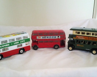 THREE Collector Double Decker Buses - Play Art Die Cast Double Decker Bus - London Double Decker -Vintage