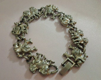 Monkey Ape Silver Tone Bracelet - Costume Jewellery - Animal Primate Theme