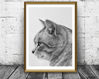 Cat Print, Printable Cat Art, Cat Profile Photo, Kid Gift Wall Decor, Black and White Pet Wall Art, Nursery Print, Housewarming gift