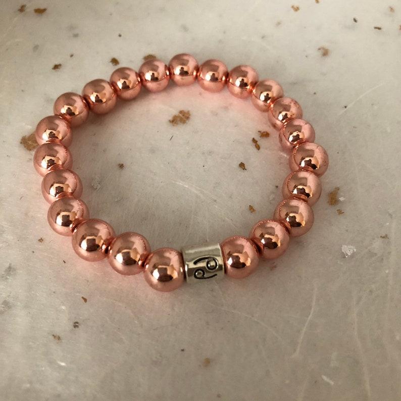 Rose Gold Cancer Star Sign Zodiac Sign Bracelet