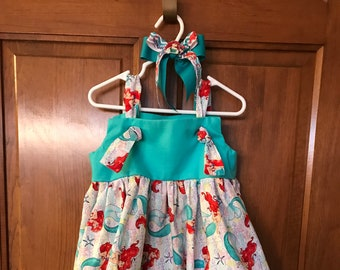 Little Mermaid dress with Matching Hair Bow