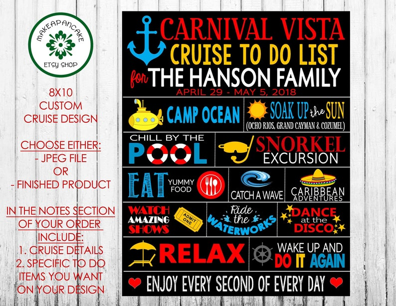 CARNIVAL CRUISE MAGNET Customized ~ Personalized To Do List ~ Stateroom  Door Magnet ~ Choose Jpeg file or Finished Magnet