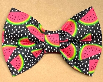 Hot Pink and Black Watermelon Print Premium Dog Bowties for Collars  Summertime Watermelon Dog Bowtie Lime Green