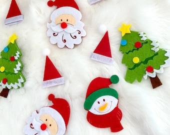 Mix Christmas Applique, Patch Holiday Decoration Christmas Card Making Felt Santa Claus Snowflakes Snowman Red White Green Appliqué