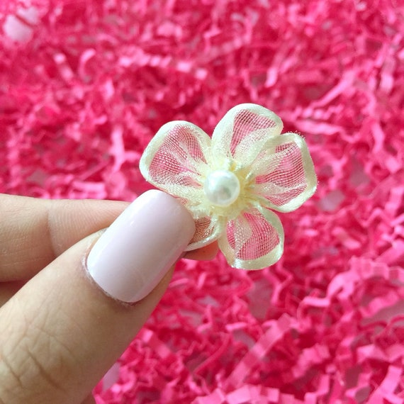 Organza Satin Edge Craft Flowers 3cm 5